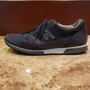 MEN'S NAVY BLUE HOGAN LACE UP SNEAKERS SHOES ITALY